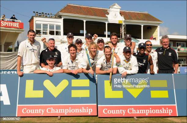 The Durham team celebrate after winning the LV County Championship match between Kent and Durham by an innings and 71 runs at the St Lawrence Ground...