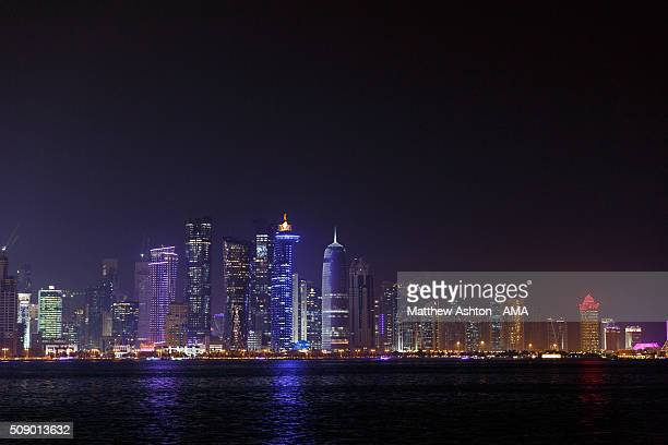 The dusk skyline along the Doha Corniche a waterfront promenade at Doha Bay in the capital city of Doha The county of Qatar will play host to the...