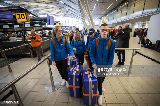 The Dutch athletes participants of the Special Olympics World Games 2019 check in for their flight to Abu Dhabi at Schiphol Airport on March 7 2019...