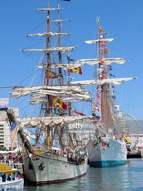 The Dutch Barque Europe in 1911 and La Goleta Spanish school Juan Sebastian de Elcano Class A of 1927 moored in the harbor on July 29 2012 in Cadiz...