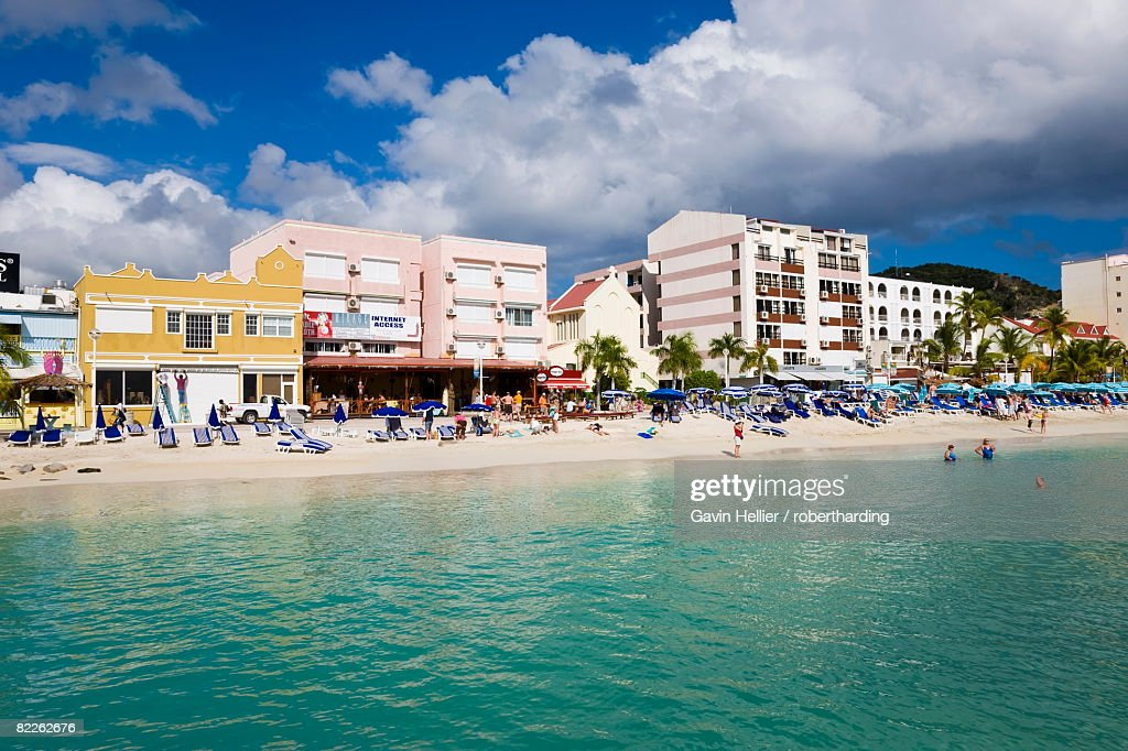 The Dutch capital of Philipsburg, St. Maarten, Netherlands Antilles, Leeward Islands, West Indies, Caribbean, Central America : Stock Photo