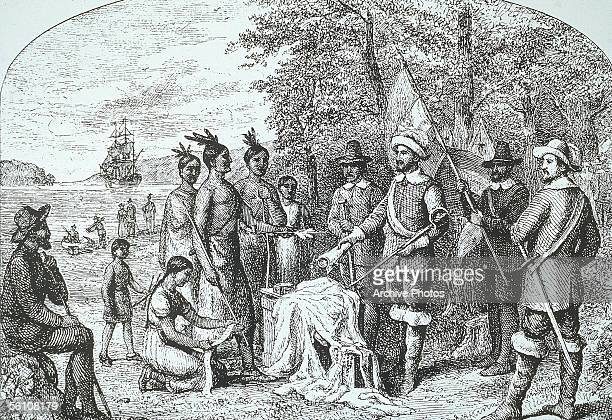 The Dutch Governor of New Amsterdam Peter Minuit and his men purchase the Island of Manhattan from Algonquin Native Americans for trinkets valued at...