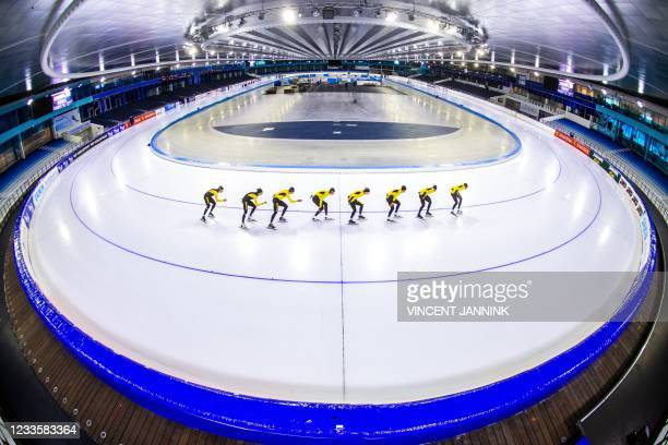 The Dutch Jumbo skating team takes to the ice during the first training session on the summer ice of Thialf which is temporarily opened for training...