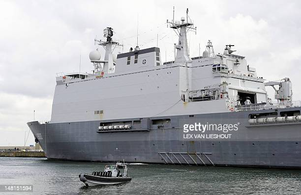 The Dutch marine vessel Hr Ms Rotterdam leaves the harbor of Den Helder on July 11 2012 The amphibious transport ship headed by Commander Ben...