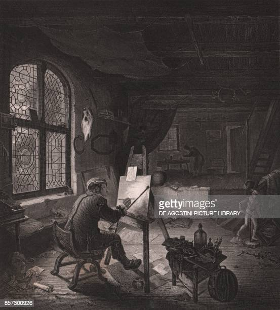 The Dutch painter Adriaen van Ostad in his studio engraving by Alexander Carse from a painting by Adriaen van Ostad from Payne's Royal Dresden...