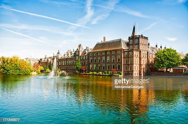the dutch parliament in the hague, netherlands - binnenhof stock photos and pictures