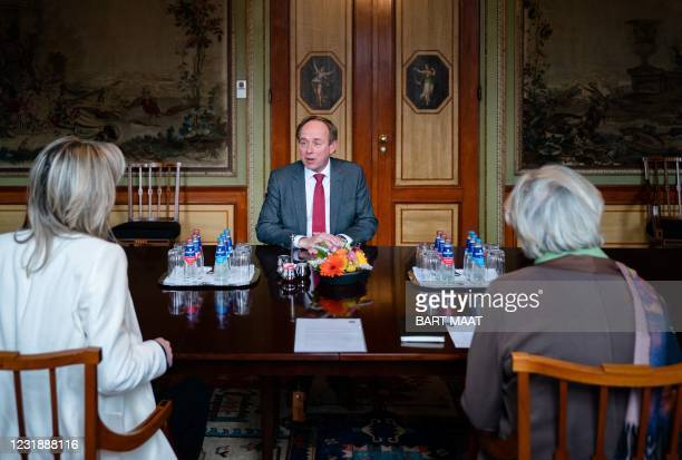 The Dutch party leader of SGP Kees van der Staaij is received in the House of Representatives in The Hague, by scouts Annemarie Jorritsma and Kajsa...