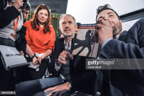 The Dutch photographer film director music video director and visual artist Anton Corbijn with his fans after attending a discussion on cinema at the...