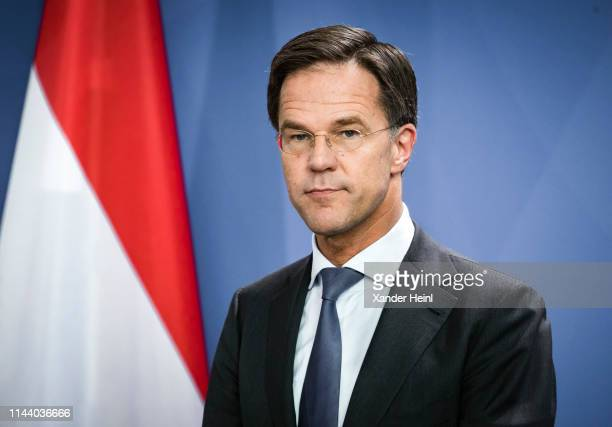 The Dutch Prime Minister Mark Rutte at a press conference at the Bundeskanzleramt, on May 16, 2019 in Berlin, Germany.