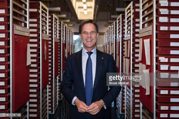 The Dutch Prime Minister Mark Rutte poses for a photo during a visit to the National Herbarium of NSW in Sydney on October 10 2019 in Sydney...