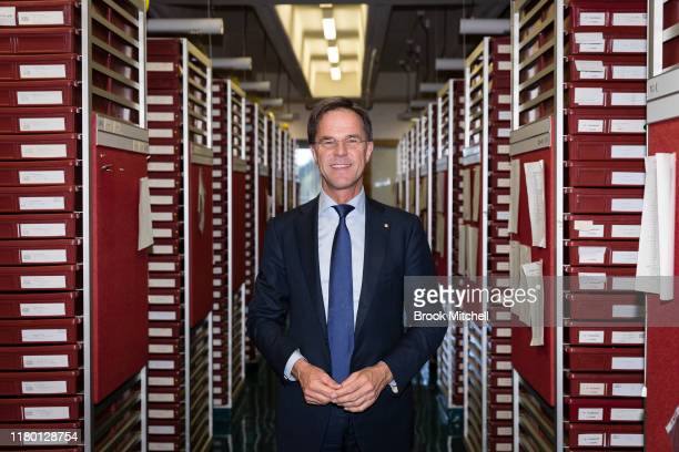 The Dutch Prime Minister Mark Rutte poses for a photo during a visit to the National Herbarium of NSW in Sydney on October 10, 2019 in Sydney,...