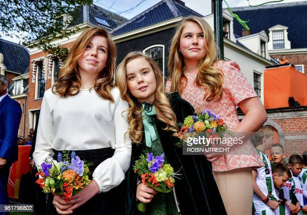 The Dutch Princesses Alexia, Ariane and Amalia attend the King's Day in Groningen, on April 27, 2018. - King Willem-Alexander celebrated his 51th...
