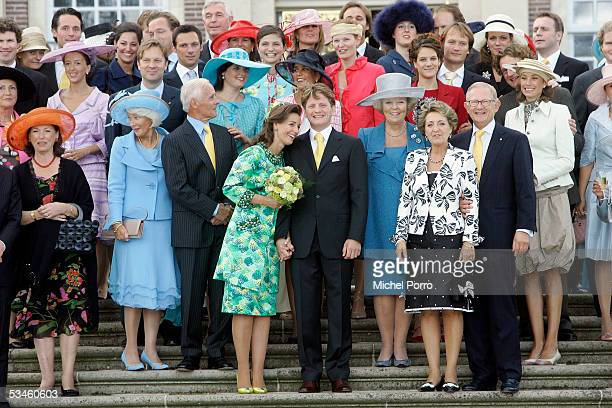 The Dutch Royal family and friends pose for a picture after the civil wedding ceremony of Dutch Prince Pieter Christiaan and Anita van Eijk at The...