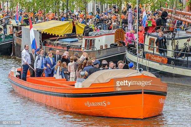 the dutch royal family during kingsday in zwolle - king's day netherlands stock pictures, royalty-free photos & images