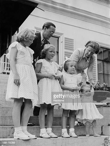 The Dutch royal family pose on the steps of Soestdijk Palace in the Netherlands on the occasion of Princess Irene's 9th birthday 5th August 1948...
