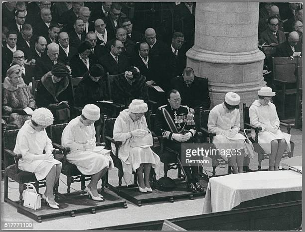 The Dutch Royal family wearing white attends the funeral for Queen Wilhelmina of the Netherlands