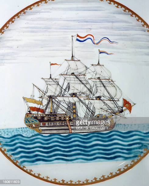The Dutch ship Vryburg commanded by Captain Jacob Ryzik detail of decoration of a porcelain plate for the Dutch market China Chinese Civilisation...