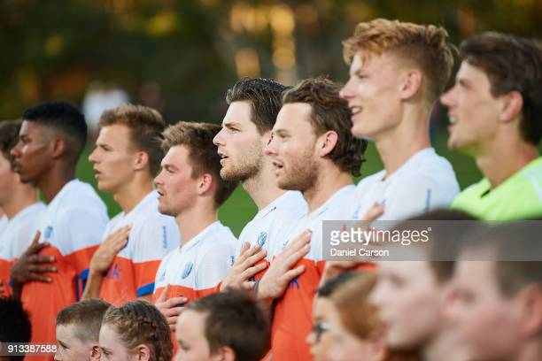 The Dutch sing the national anthem during game three of the International Test Match hockey series between the Australian Kookaburras and the...
