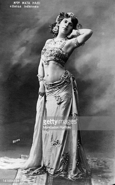 The Dutch spy and dancer Mata Hari wearing an Indian costume 1900s