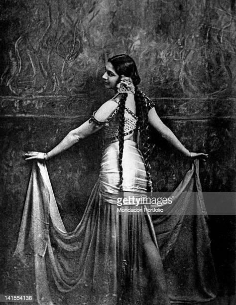 The Dutch spy and dancer Mata Hari wearing an Oriental costume during a dance 1912