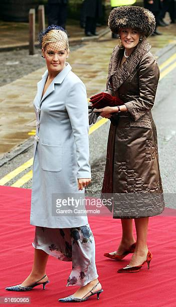 The Dutchess of Westminster and Lady Edwina Grosvenor arrive at Chester Cathedral for the wedding of Ed Van Cutsem and Lady Tamara Grosvenor on...