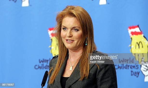 The Dutchess of York Sarah Ferguson speaks at the 2005 World Children's Day at the McDonalds Los Angeles Ronald McDonald House on November 15 2005 in...