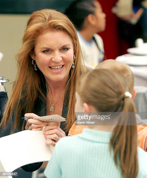 The Dutchess of York Sarah Ferguson speaks the children at the 2005 World Children's Day at the McDonalds Los Angeles Ronald McDonald House on...