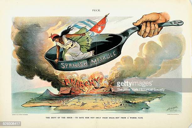 - To Save Her, Cuba, Not Only From Spain - But from a Worse Fate, published by Keppler & Schwarzmann, May 11, 1898. Lithograph by Holrymple, del.; J....