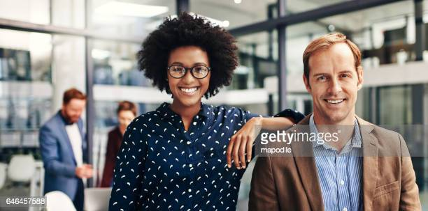 the dynamic duo heading up the newest startup - two people stock pictures, royalty-free photos & images
