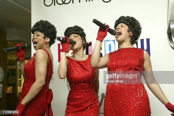 The Dynamites perform during Bloomingdales and Mattel present one of a kind Hairspray Ken And Barbie dolls to be auctioned off to benefit Broadway...
