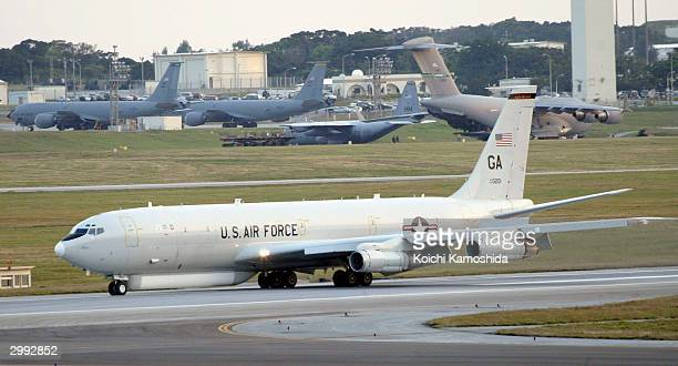 The E8 Joint Surveillance Target Attack Radar System lands at Kadena US Air Force Base on February 18 2004 in Kadena Japan The E8 came to Japan for...
