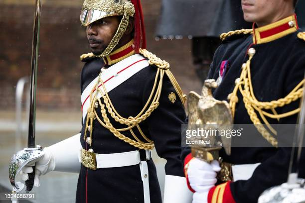 The eagle emblem of the Blues and Royals Cavalry Regiment is seen on the sleeve of a soldier as Lance Corporal of Horse Carl Greenhow holds the...