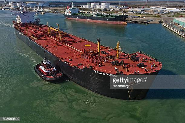 The Eagle Ford crude oil tanker sails out of the the NuStar Energy dock at the Port of Corpus Christi in Corpus Christi Texas US on Thursday Jan 7...