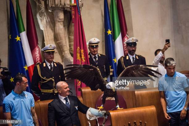 The eagle mascot Olimpia look on during the award ceremony for the victory of the SS Lazio in the Tim Cup at Campidoglio on July 10 2019 in Rome Italy