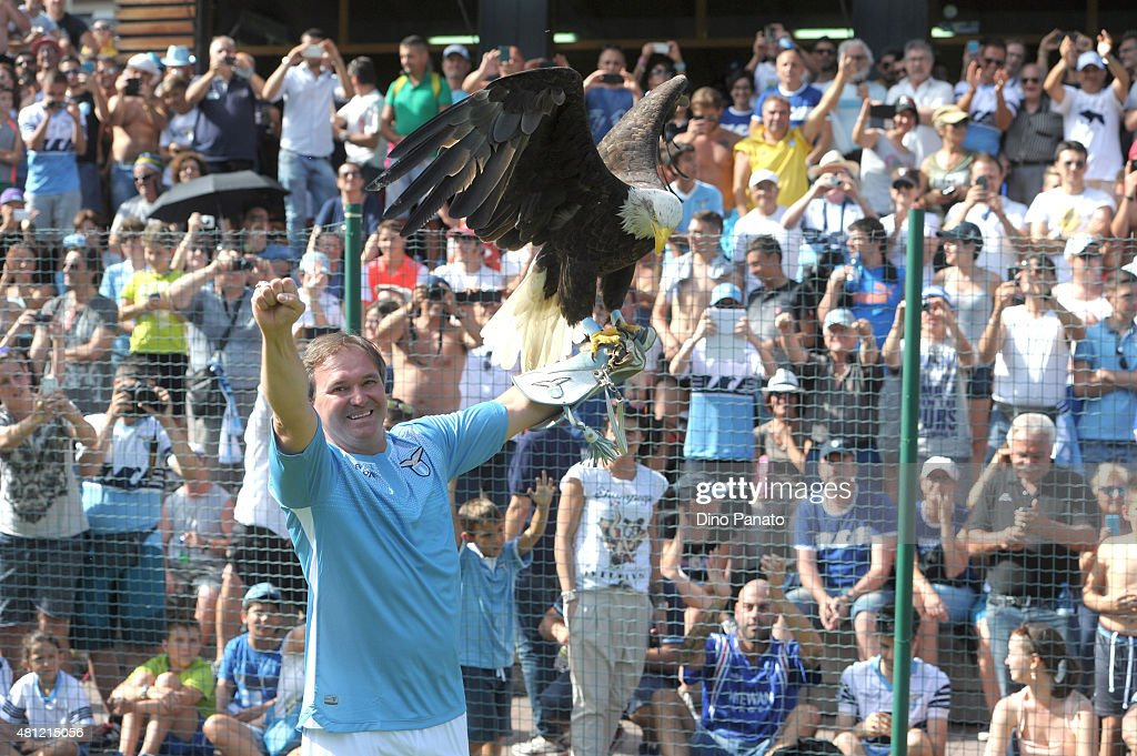 the eagle Olimpia masctte of SS Lazio during the preseason friendly match between SS Lazio and Vicenza Calcio on July 18, 2015 in Auronzo near Cortina d'Ampezzo, Italy.