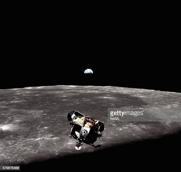 The Eagle the lunar module of Apollo 11 prepares to dock with the command module after ascending from the Moon's surface | View from 'Columbia'...