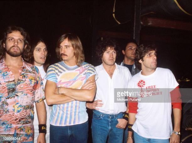 The Eagles group portrait backstage New York October 1979 LR Don FelderTimothy B SchmitJoe WalshDon HenleyGlenn Frey