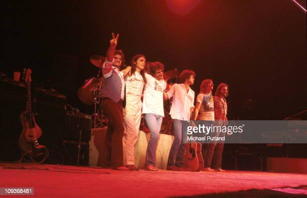 The Eagles group portrait on stage New York October 1979 LR unknown Timothy B SchmitGlenn FreyDon HenleyJoe WalshDon Felder