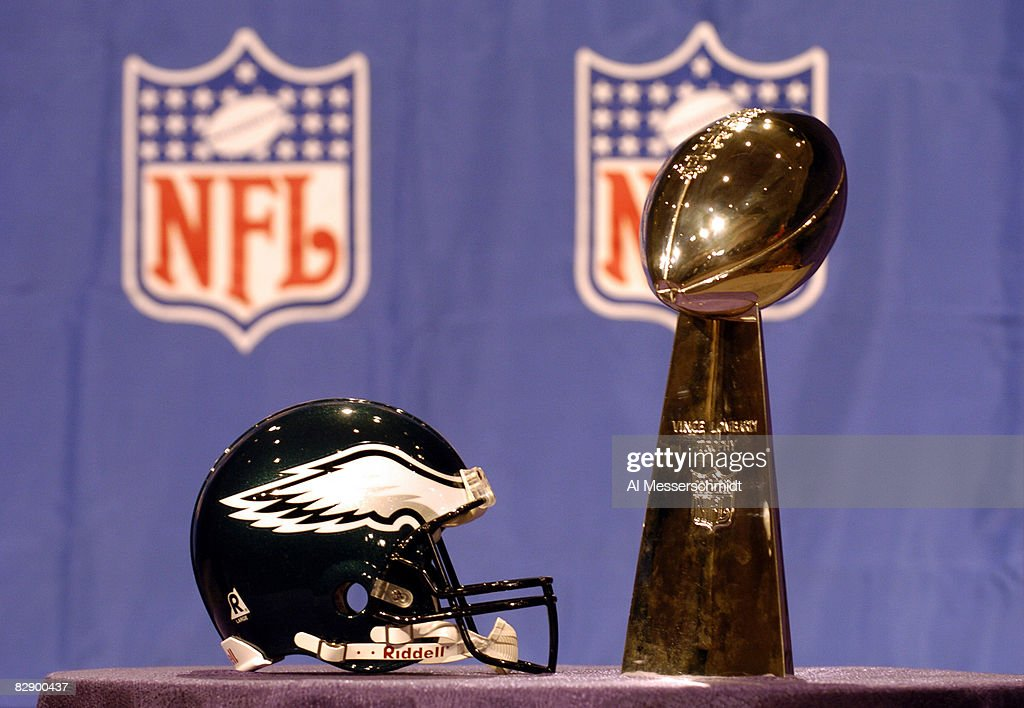 The Eagles Helmet And Vince Lombardi Trophy At Andy Reids Press Conference On February 4