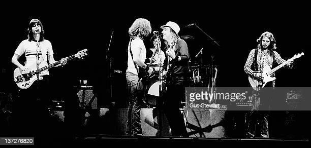 The Eagles perform on stage at Wembley Empire Pool London 26 April 1977 Left to right Randy Meisnerm Glenn Frey Don Henley Joe Walsh and Don Felder