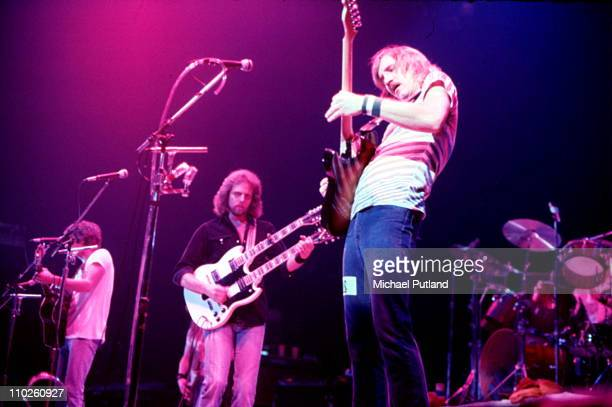 The Eagles perform on stage in the United States October 1979 LR Glenn Frey Don Felder Joe Walsh