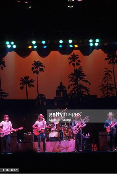 The Eagles perform on stage UK LR Randy Meisner Glenn Frey Don Henley Don Felder Joe Walsh