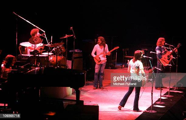 The Eagles perform on stage Wembley London LR Glenn FreyDon HenleyDon FelderRandy MeisnerJoe Walsh