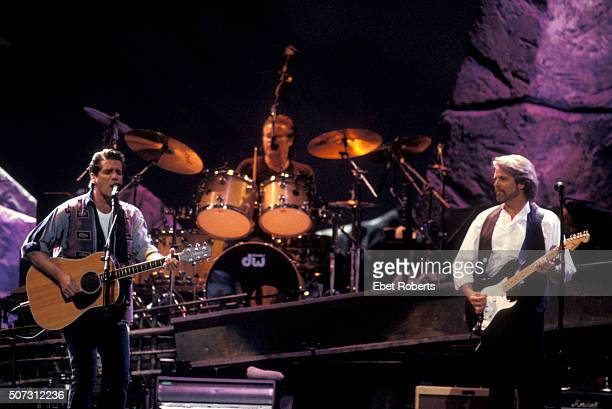 The Eagles performing at the Target Center in Minneapolis February 21 1995 Pictured L to R Glenn Frey Don Henley and Don Felder