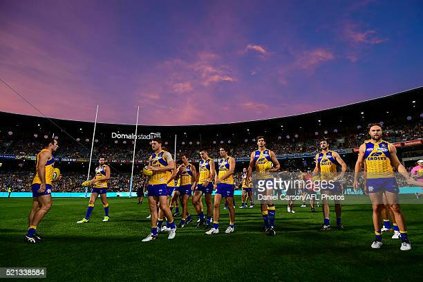 The Eagles prepare to break the banner during the 2016 AFL Round 04 match between the West Coast Eagles and the Richmond Tigers at Domain Stadium...