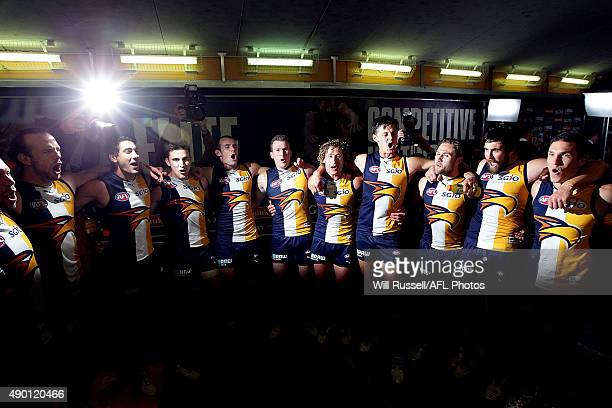 The Eagles sing the team song after winning the AFL Second Preliminary Final match between the West Coast Eagles and the North Melbourne Kangaroos at...