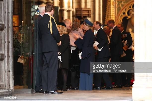 The Earl and Countess of Wessex and the Duke of Cambridge leaving Westminster Abbey in London following a service of thanksgiving for the life and...