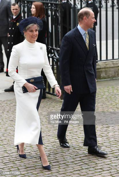 The Earl and Countess of Wessex arrive at the Commonwealth Service at Westminster Abbey London on Commonwealth Day The service is the Duke and...