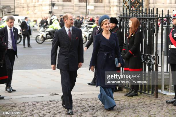 The Earl and Countess of Wessex arriving for a service of thanksgiving for the life and work of Sir Donald Gosling at Westminster Abbey in London