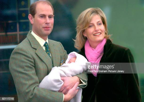 The Earl And Countess Of Wessex As Proud Parents Leaving Frimley Park Hospital With Their 2 Weekold Baby Daughter Lady Louise Windsor